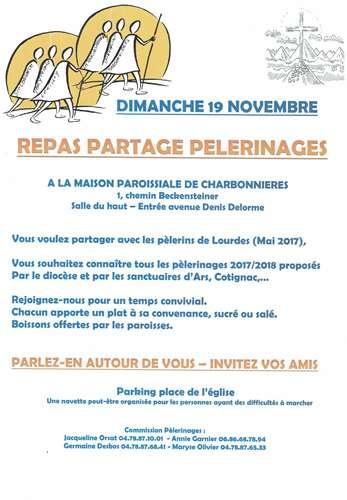 Invitation partage pélerinage 19 novembre 2017 à Charbonnières
