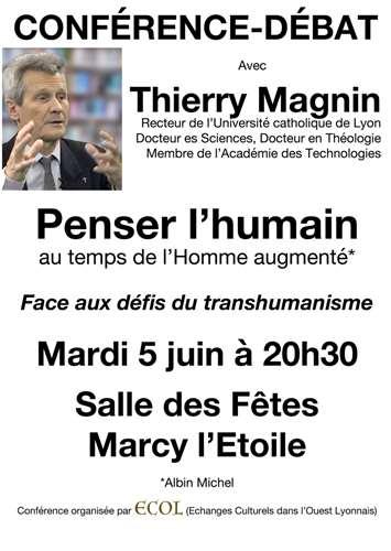 """Affiche conférence débat """"Penser L'humain"""" - Thierry Magnin"""